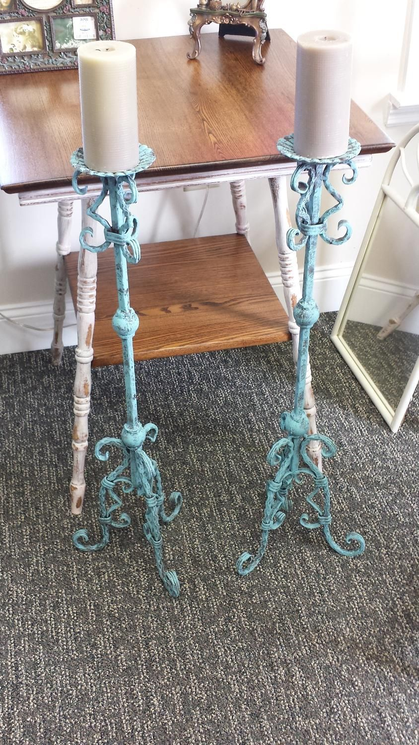 Vintage Wrought Iron Floor Candle Holders 33 Tall Floor Candle