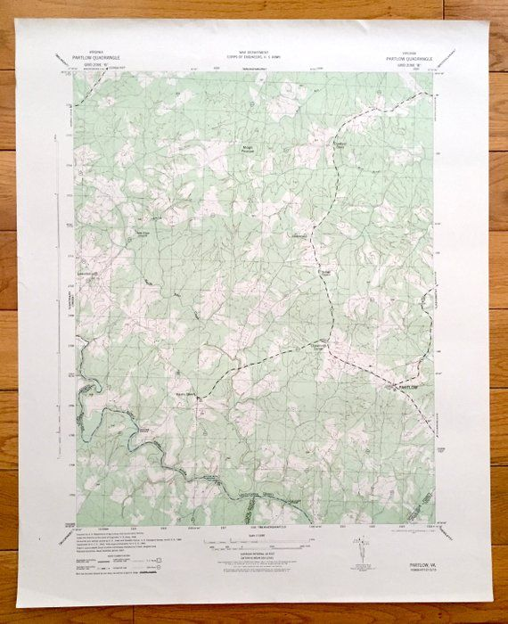 Antique Partlow Virginia 1942 Us Army Topographic Map - Us-army-topographic-maps