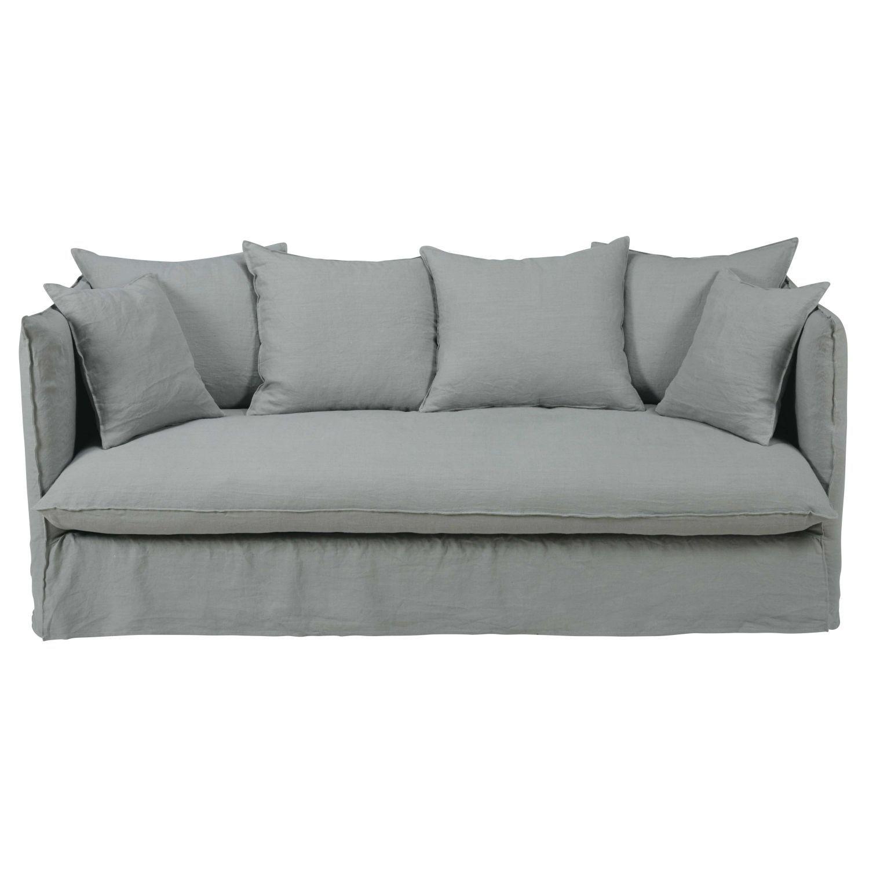Canape 3 4 Places En Lin Lave Gris Clair Sofa Linen Sofa Sofa Bed