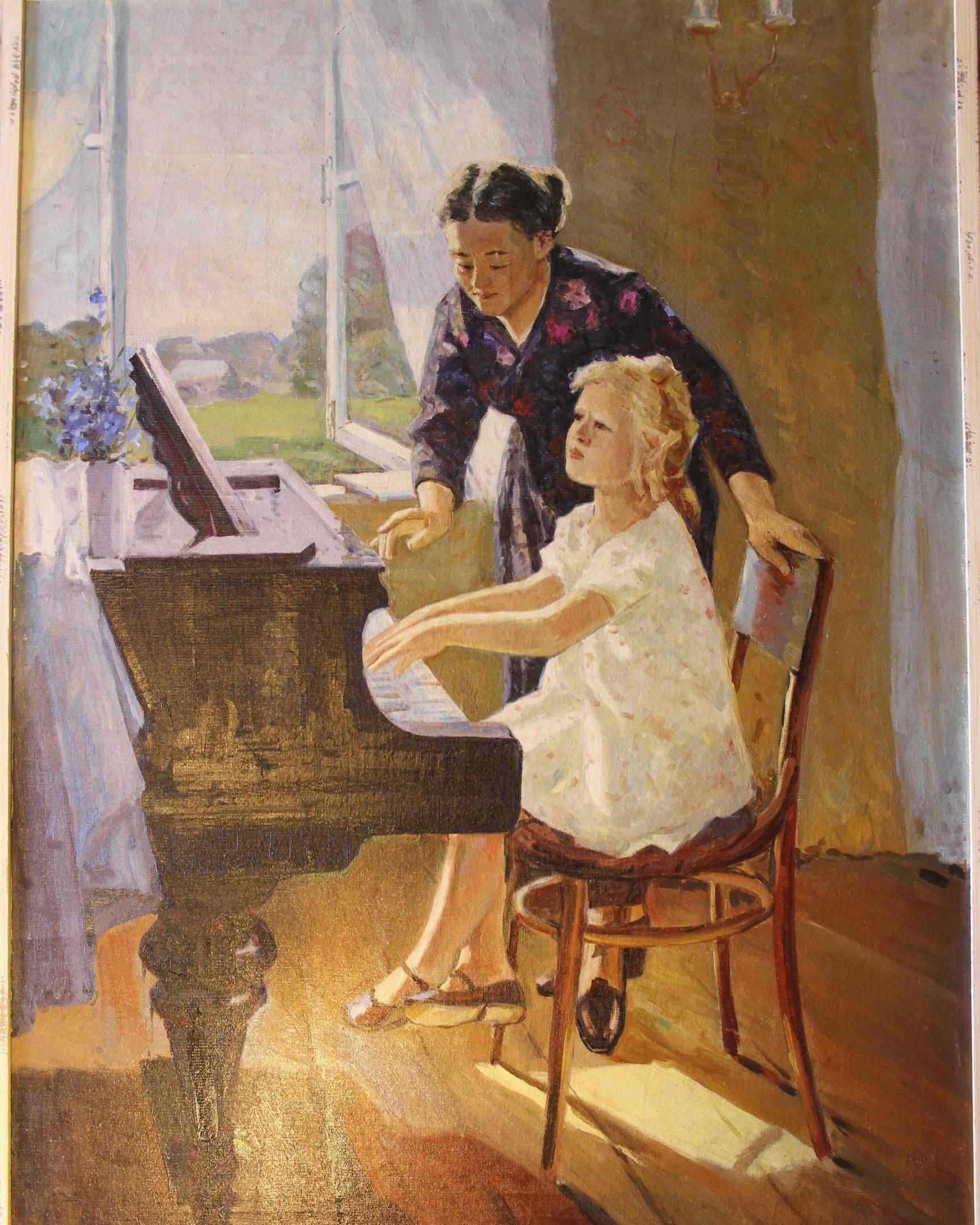 """Music Lesson / Урок музыки"",1970. Александр Наседкин (Alexander Nasedkin)."