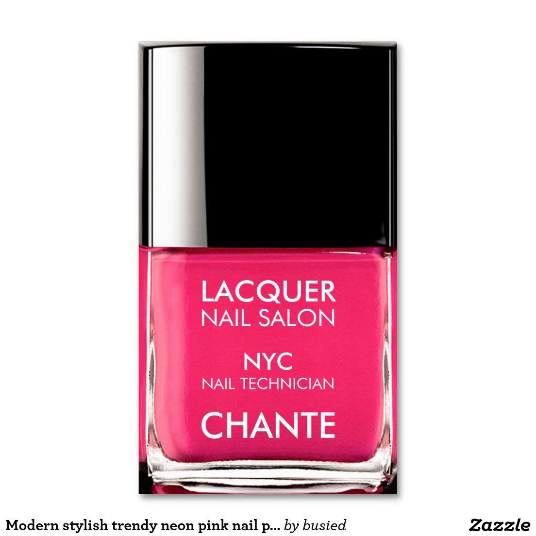 Modern stylish trendy neon pink nail polish chic business card ...