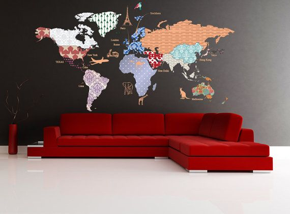 Cultural world map decal pattern map wall decal celar vinyl decal cultural world map decal pattern map wall decal celar vinyl decal nursery room gumiabroncs Gallery