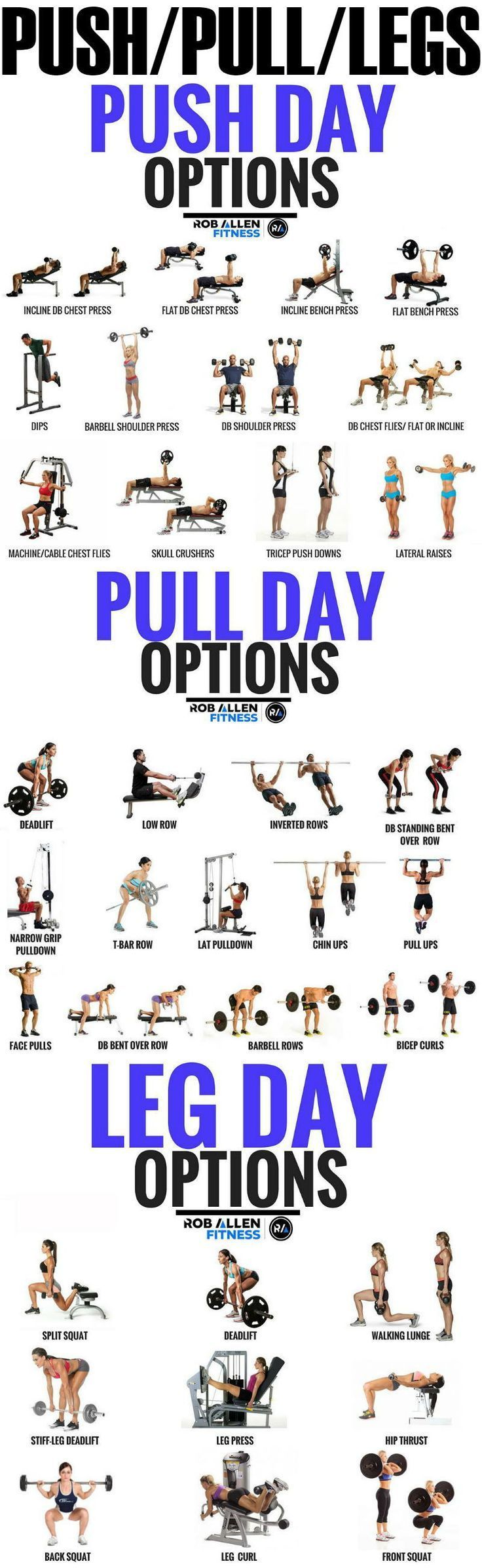 Push/Pull/Legs Weight Training Workout Schedule For 7 Days #fitness #exercises