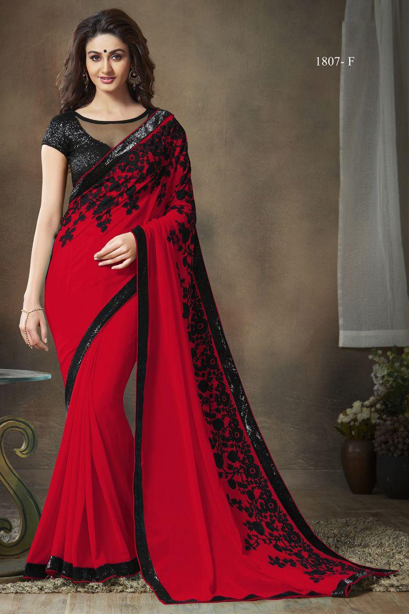 7689fae475 Red Designer Party Wear Saree With Work Varsiddhi Catalog 1807F ...