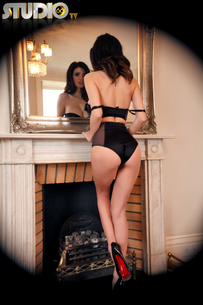 Lingerie by fireplace