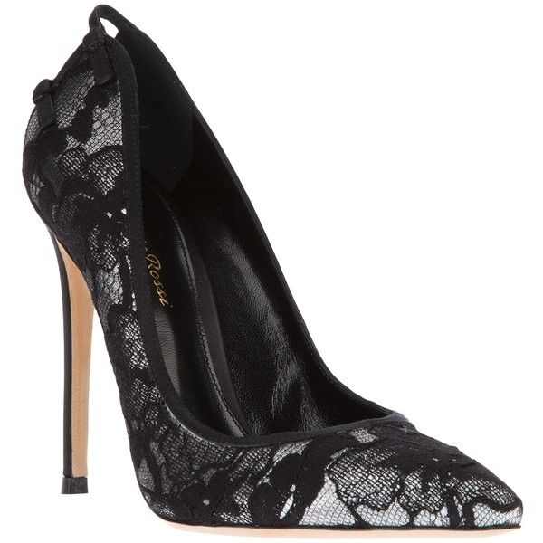 GIANVITO ROSSI syiletto lace pump by None, via Polyvore