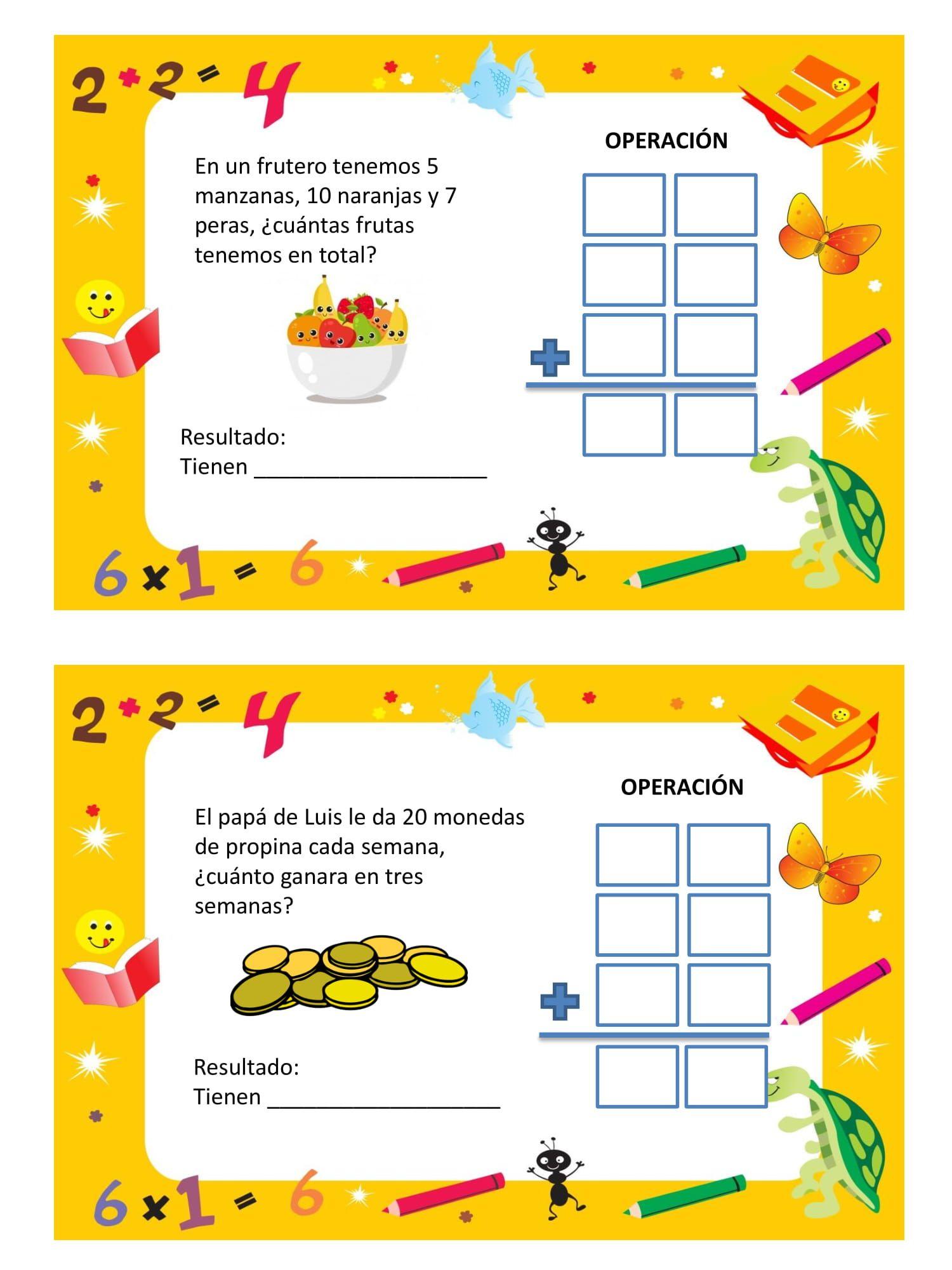 problemas de matematicas hoja 8   Matemáticas para niños ...