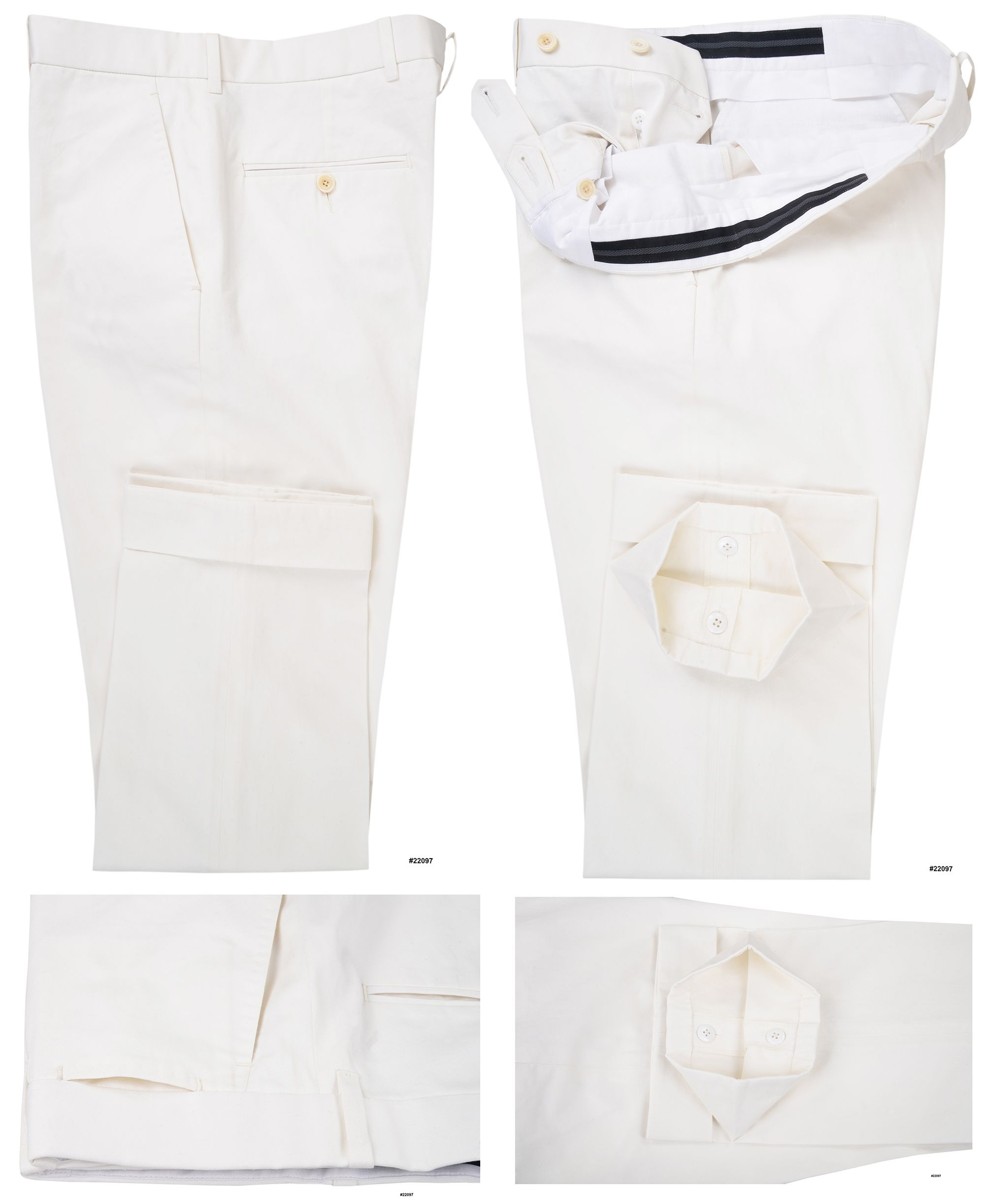 9a58cb3807 Luxire Fit-Test Trial Pants 100% cotton off-white twill chino pants.  Features: Standard extended closure with standard belt loop.