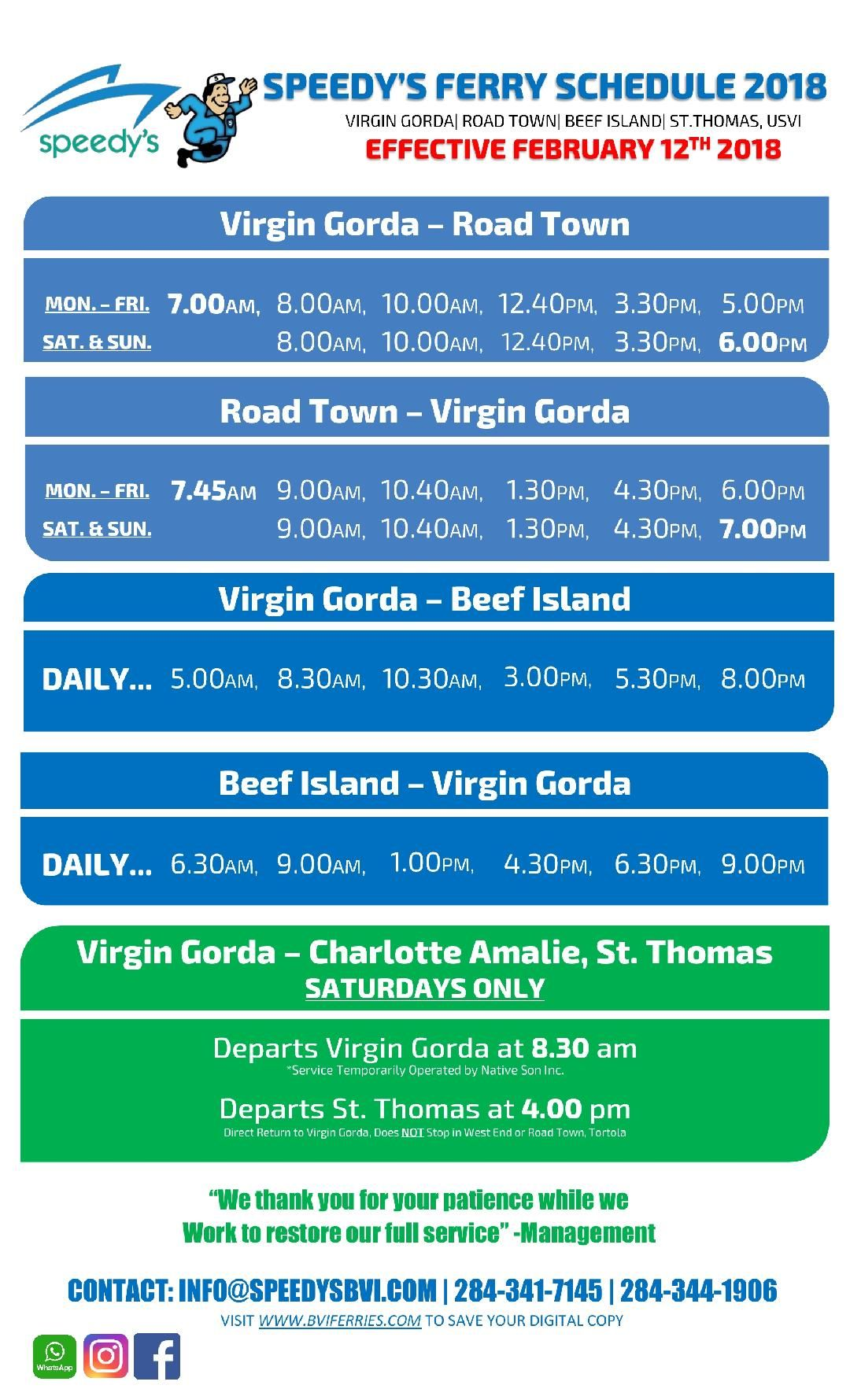 Speedys Schedule Virgin gorda, Road town, Tortola