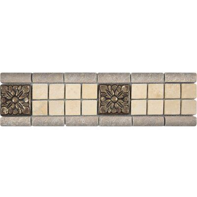 Parvatile 3 X 12 Travertine Renaissance Border Tile In Noce