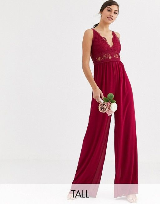 TFNC Tall Bridesmaid jumpsuit with lace inserts in mulberry #bridesmaidjumpsuits TFNC Tall Bridesmaid jumpsuit with lace inserts in mulberry | ASOS #bridesmaidjumpsuits