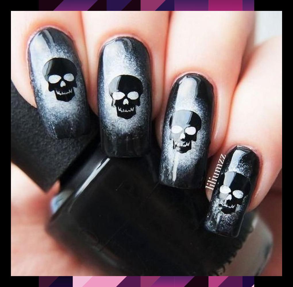 Scary Halloween Nails Art Ideas For 2019 36 In 2020 Skull Nails Goth Nails Skull Nail Art