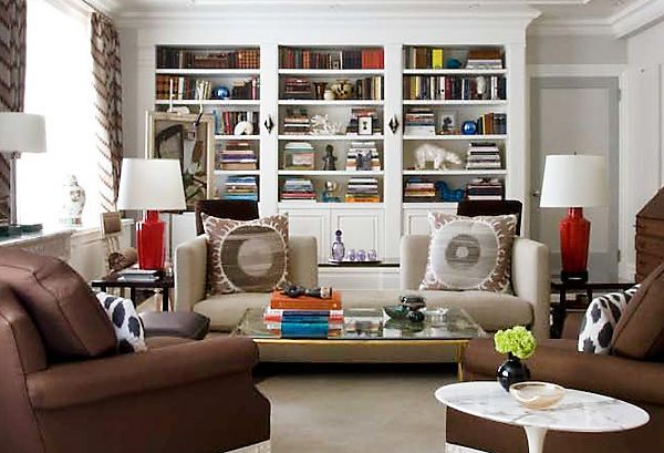 red lamps as accents ~ philip gorrivan design | living rooms i