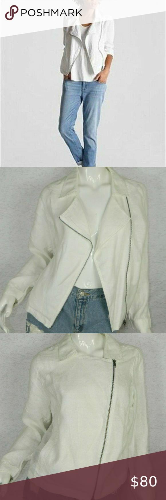 Eileen Fisher Moto Jacket White Linen Medium Eileen Fisher Eileen Fisher Jacket Moto Jacket [ 1740 x 580 Pixel ]
