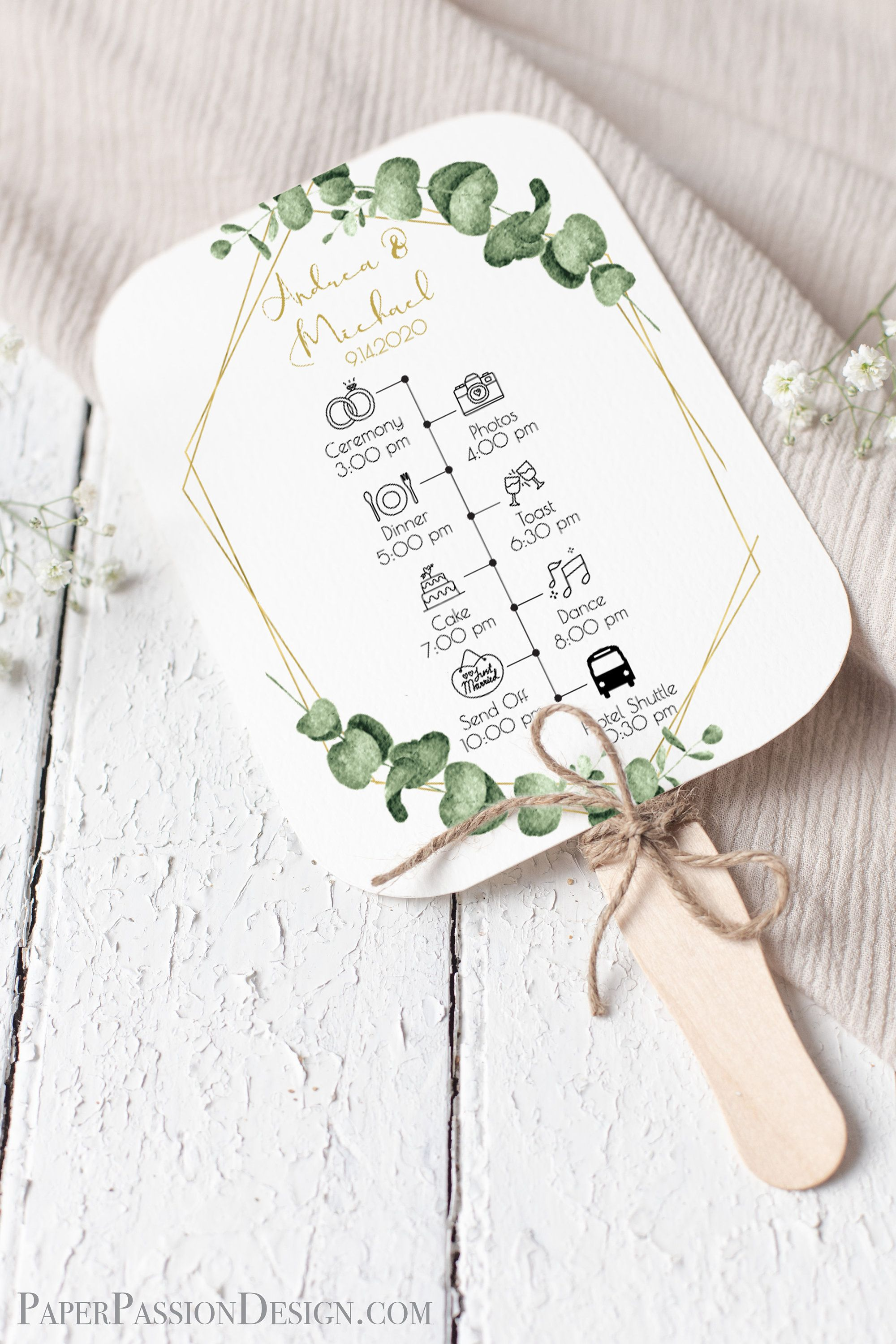 Gold Frame Greenery Fan Program Timeline Wedding Order Of Events Ceremony Program 100 Editable Templett Ppw0445 I 2020 Med Billeder Bryllupsinvitationer Bryllup Dance