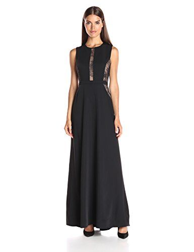 97fa2f59f2ac BCBGMAXAZRIA BCBGMax Azria Womens Ashlee Sleeveless Dress Lace Inset Black  8 ** For more information, visit image link.-It is an affiliate link to  Amazon.