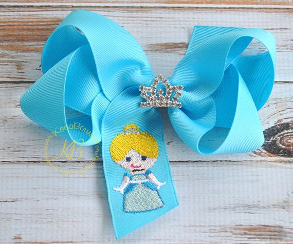 Blue Princess Hair Bow Embroidered Princess Boutique by KenaBows, $10.00