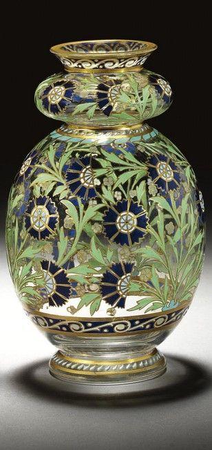 J L Lobmeyr Enamelled Turkish Style Glass Vases Vienna