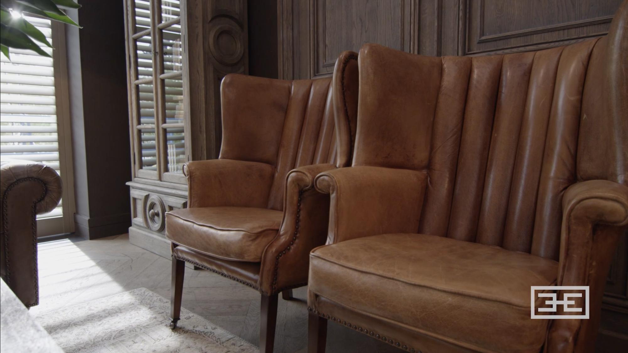 Eicholtz leren fauteuil cognac club chair bradley dealer eichholtz