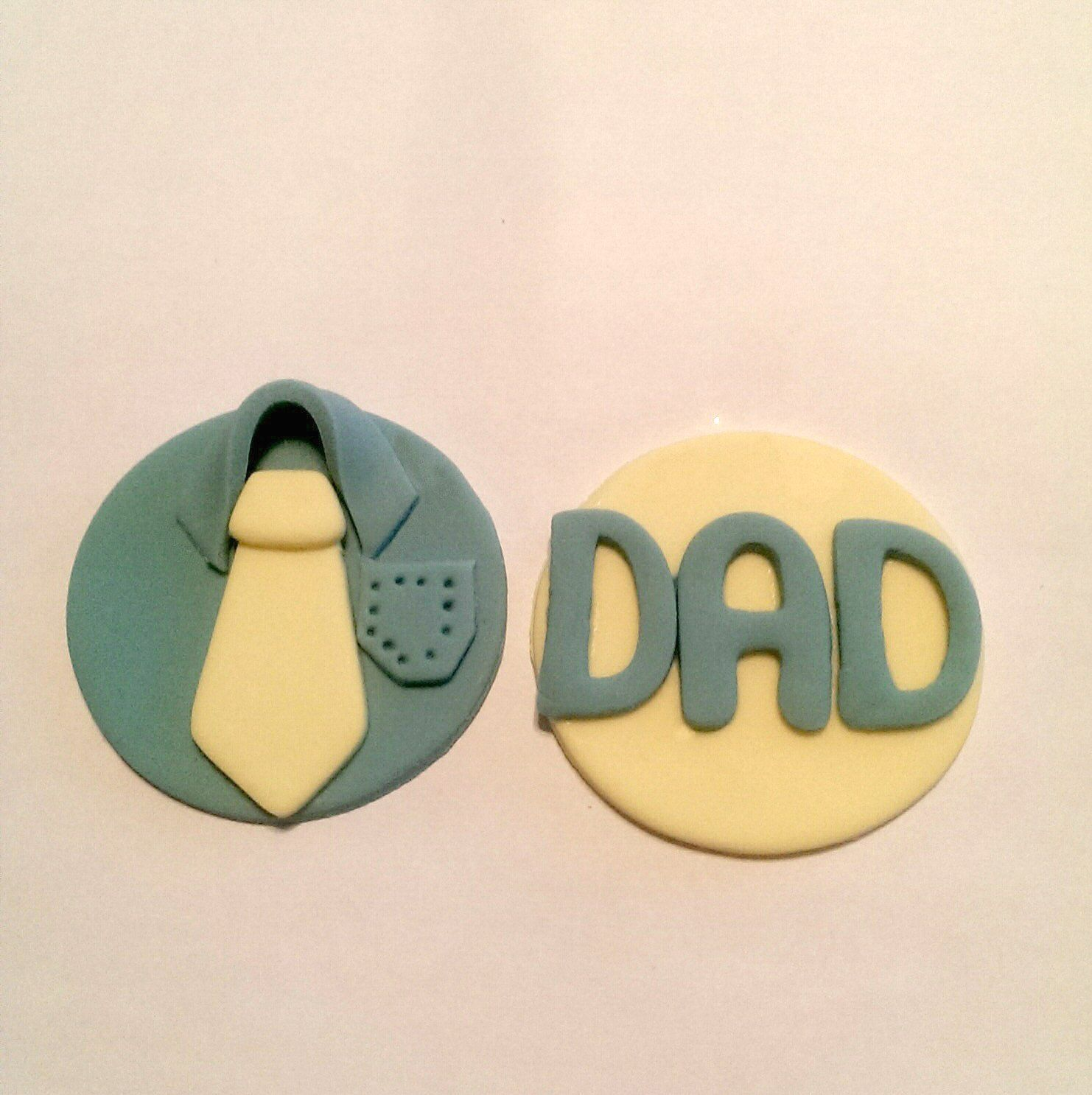 Just for Dad! Perfect little Fondant Cupcake, Cake, Cookie Toppers for Dad. Set of 12 (one dozen) 6 of each pattern.