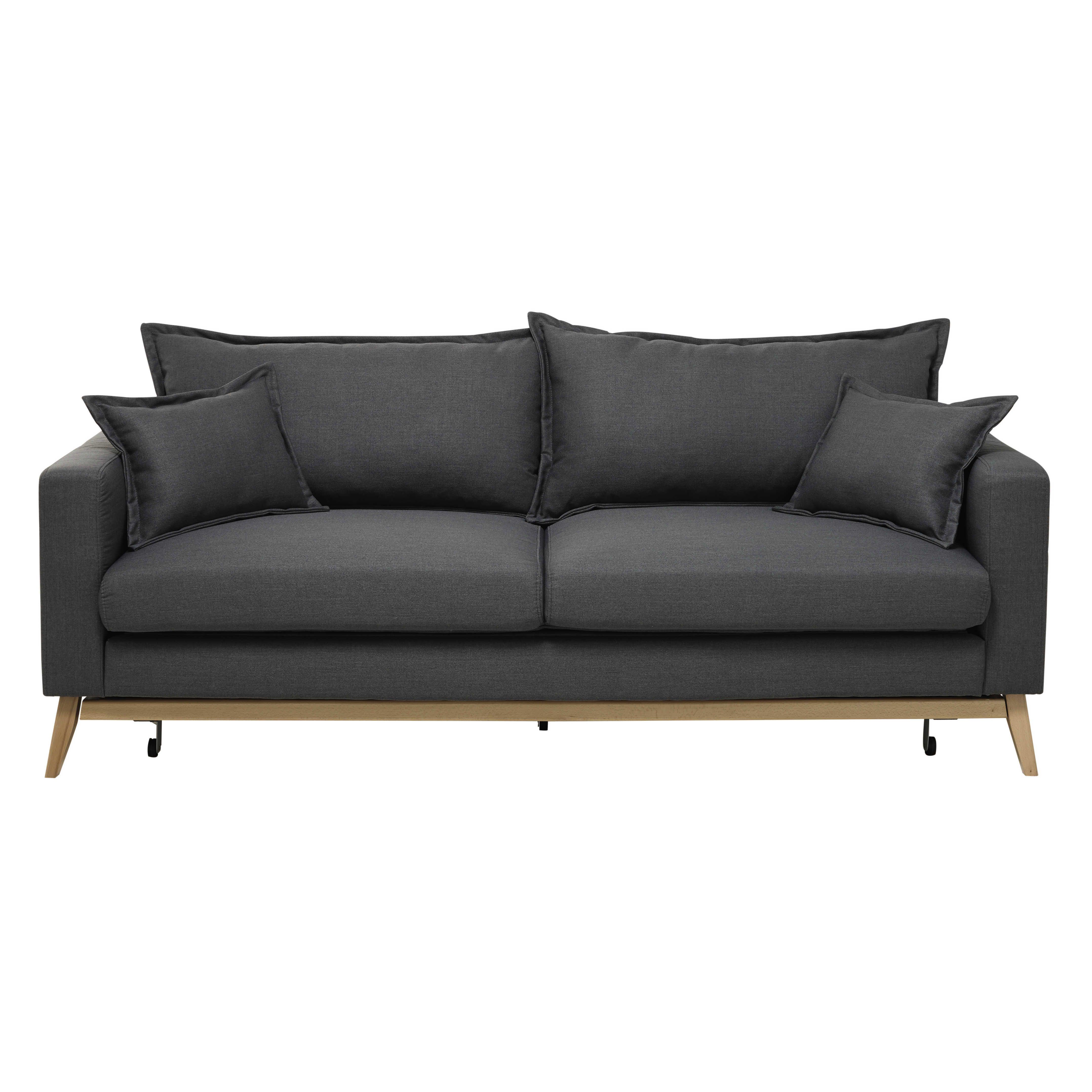 canap lit 3 places gris ardoise tissu gris canap convertible et convertible. Black Bedroom Furniture Sets. Home Design Ideas