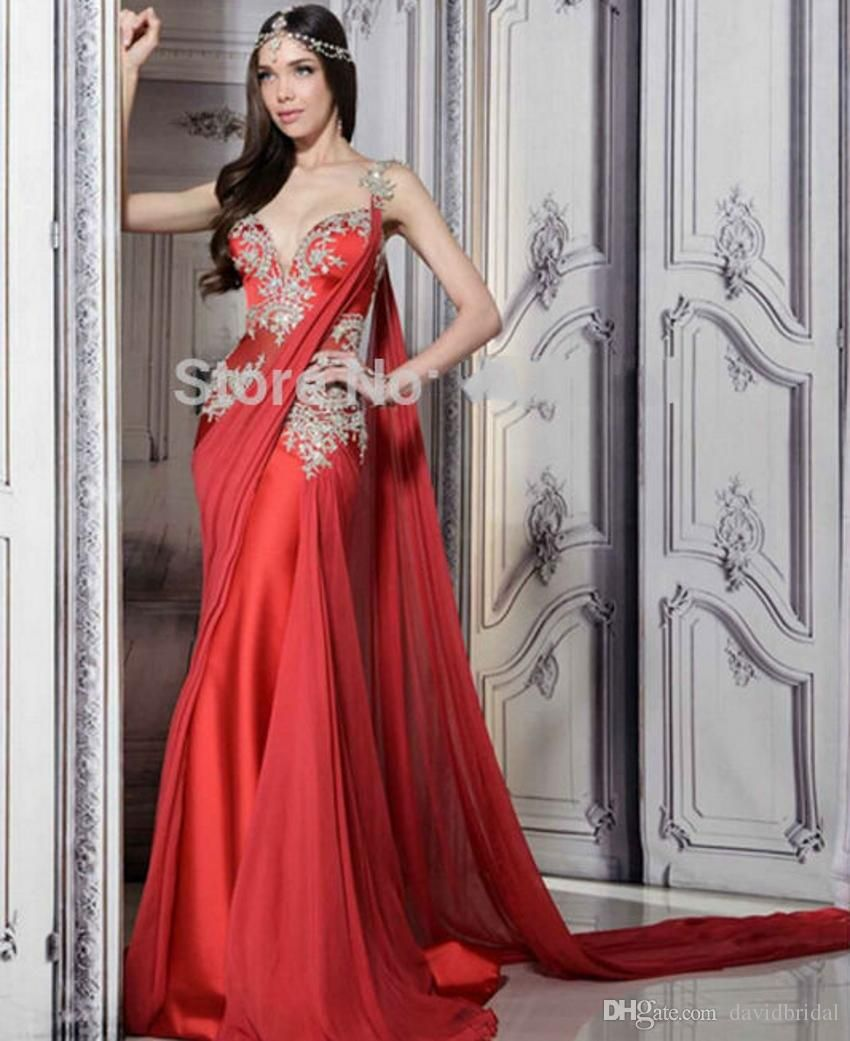 Lace Sexy Red Indian Long Mermaid Prom Dresses 2015 Formal Party Evening Gowns Vestidos De Baile Longo Trajes Largos