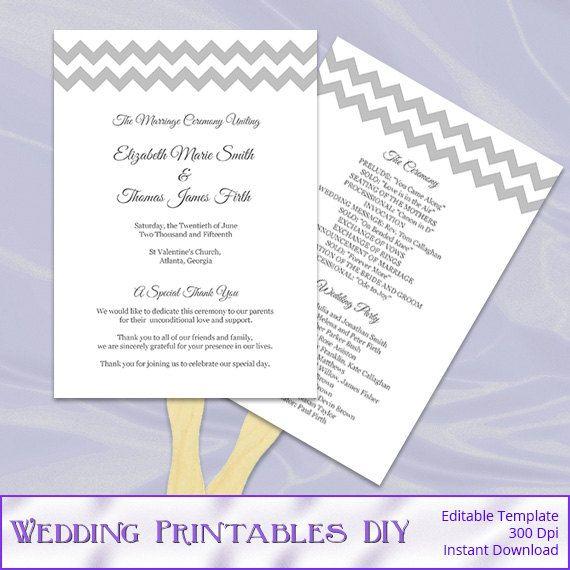 Diy Wedding Program Fan Template Silver By WeddingPrintablesDiy
