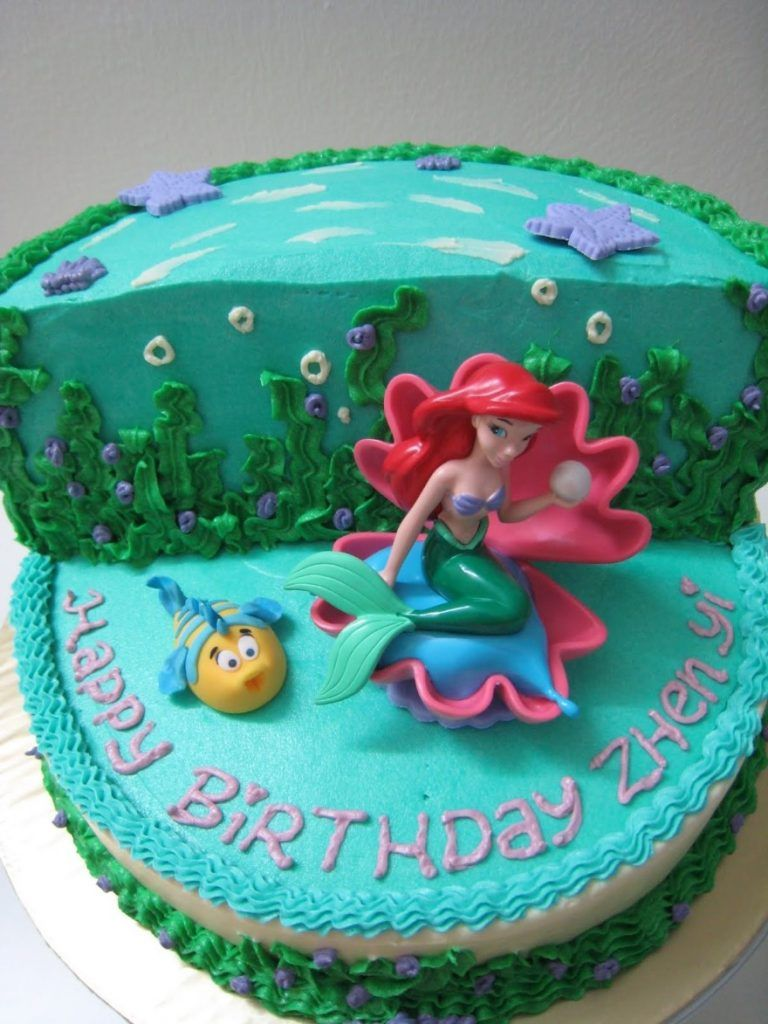 Birthday Cake Ideas Sea Ocean Beach Doll Adorable Little Mermaid Walmart Ariel Sheet Fondant Disney Princess Sugar Frosting Icing Under The