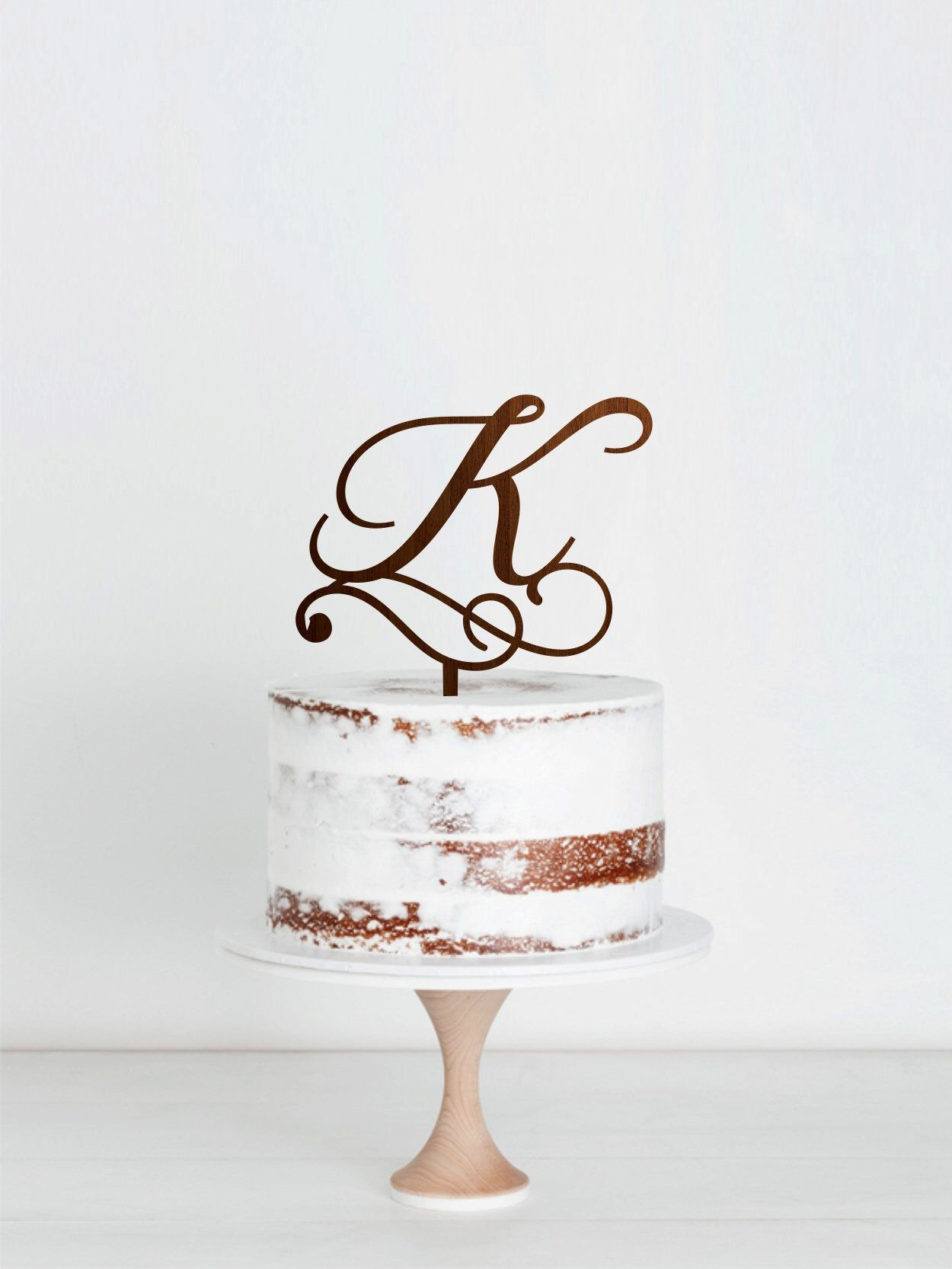 K letter cake topper personalized initial of last name wedding cake