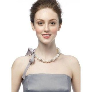 Bridesmaids Pearl and Rhinestone Ribbon Necklace $24