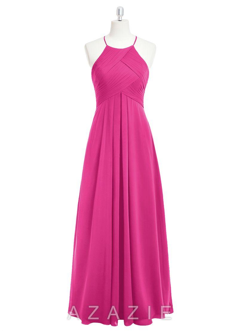 Azazie Ginger | Vestidos fucsia rosados magenta largos/ Long fuchsia ...