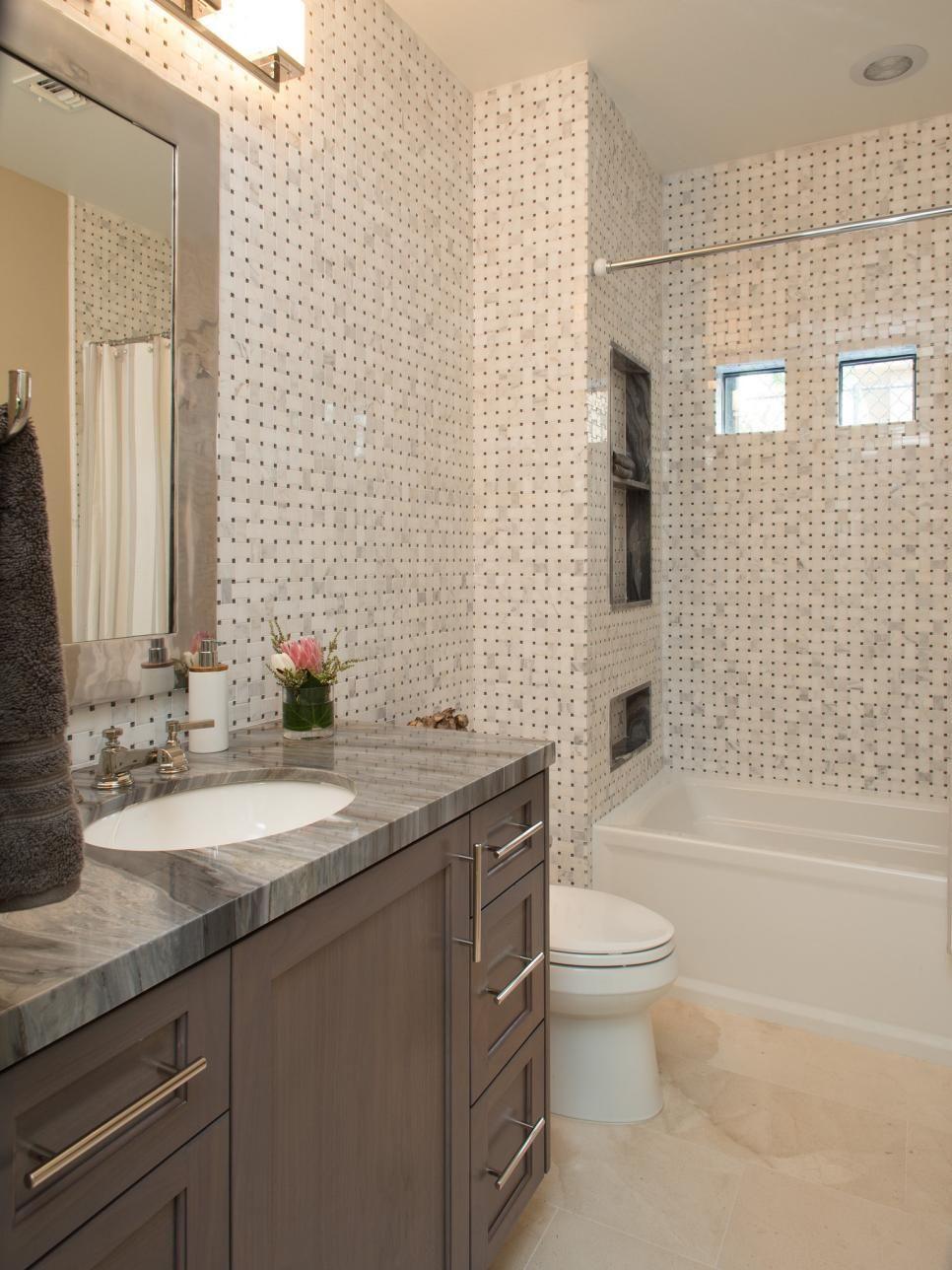 Pia banheiro granito cinza apresentadores Drew e Jonathan Scott (Discovery Ho -> Pia Banheiro Cinza