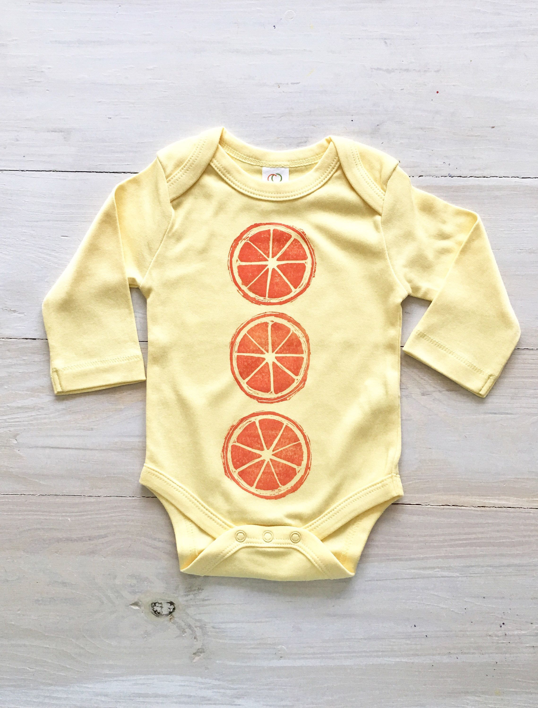 Organic vegan baby clothing foo citrus Orange baby onesie