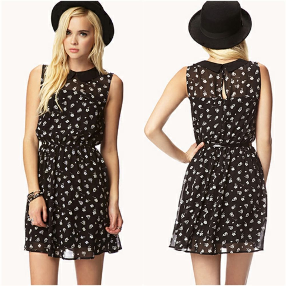 NWT FOREVER 21 Peter Pan collar Floral Chiffon Dress with Belt Black Size L   FOREVER21  Casual 33599d86b758d