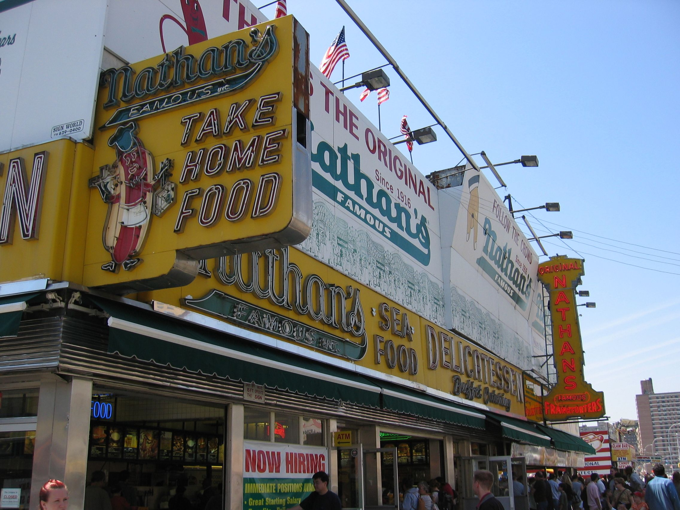 Nathan S Coney Island Home Of The Famous Hot Dog Eating Contest I Love This Place Classic Restaurant Nyc New York Bagel