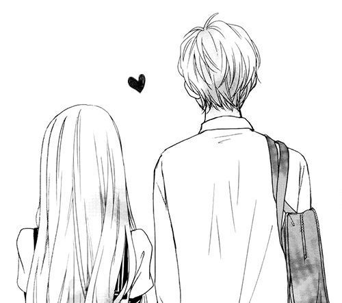 adorable, anime, art, aw, black, care, couple, cute, drawing, girly, kawaii, love, ... - Drawing -
