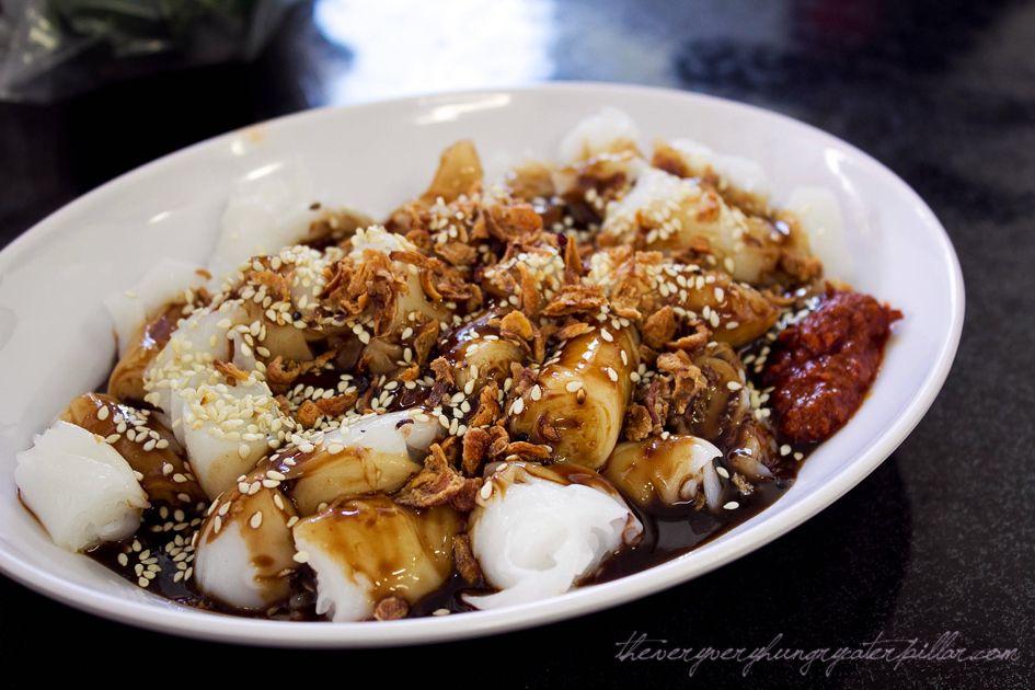 singapore street food  chee cheong fun or steam rice roll