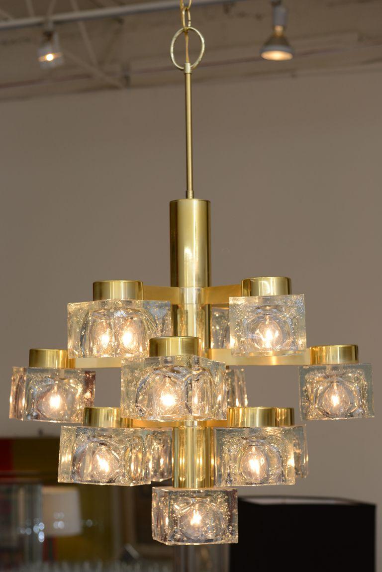 Italian large gaetano sciolari brass and cube glass chandelier via italian large gaetano sciolari brass and cube glass chandelier via http aloadofball Images