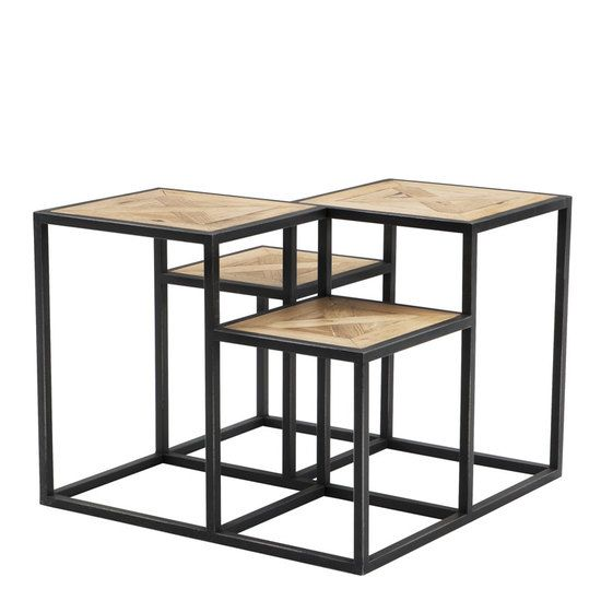 Parquette Side Table Eichholtz Smythson Black Side Table