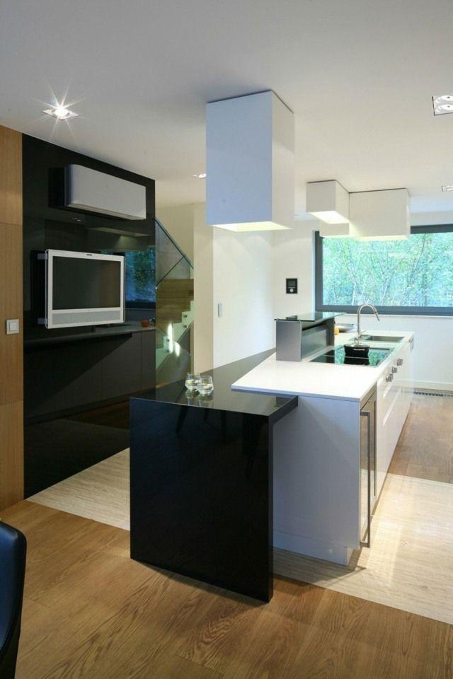 kleine Küche gestalten eingebaute Küchengeräte rechteckige Modulen - kleine küchen gestalten