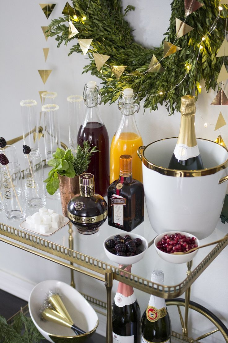 Setting up a New Years Eve Champagne Bar Cart party