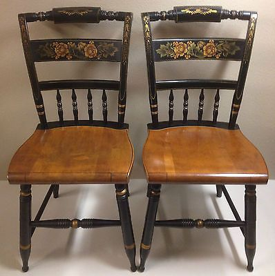 Excellent Vintage Pair Hitchcock Chair Co Black Harvest Inn Side Machost Co Dining Chair Design Ideas Machostcouk