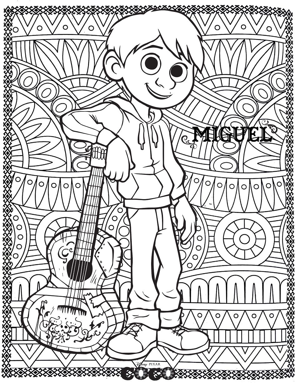Official Disney Pixar Coloring Page Coco Miguel From The
