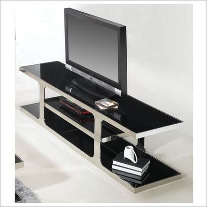 Polished Stainless Steel Entertainment Unit With Dark Tempered Gl Top 924 By Designs