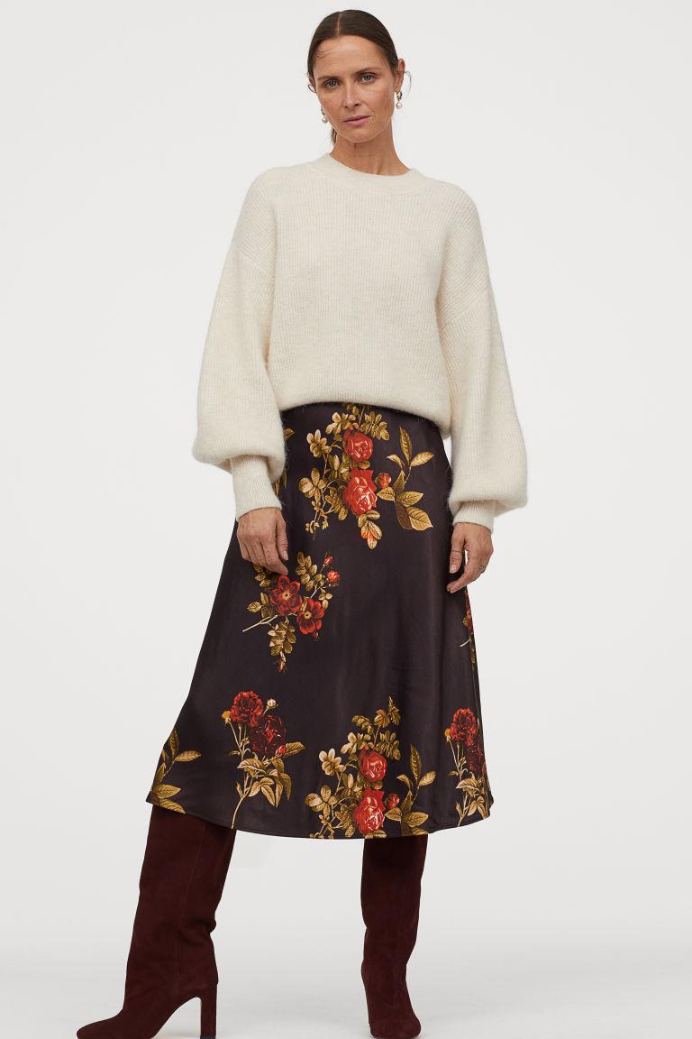 Photo of Satin Skirt – Black/floral – Ladies   H&M US