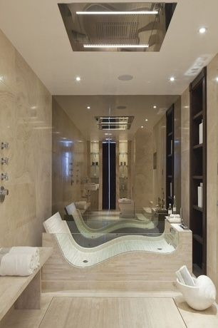 Contemporary Master Bathroom With Wall Tiles Bathtub Flush Light