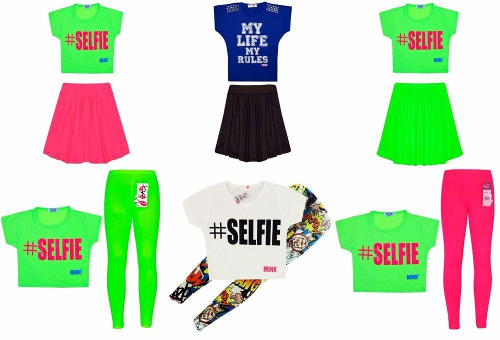 Girls Neon Dress Crop Top Kids Party Dresses New Age 7 8 9