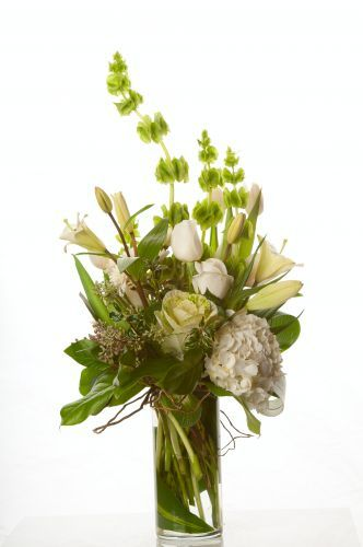 Bells Of Ireland Bouquet San Jose Florist Bloomsters San Jose Ca Flower Delivery White Flower Arrangements Altar Flowers Flower Arrangements