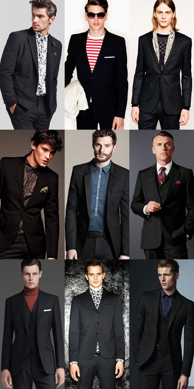 Men's Black Suits Dressed-Down With Printed Shirts, Knitwear, Roll ...