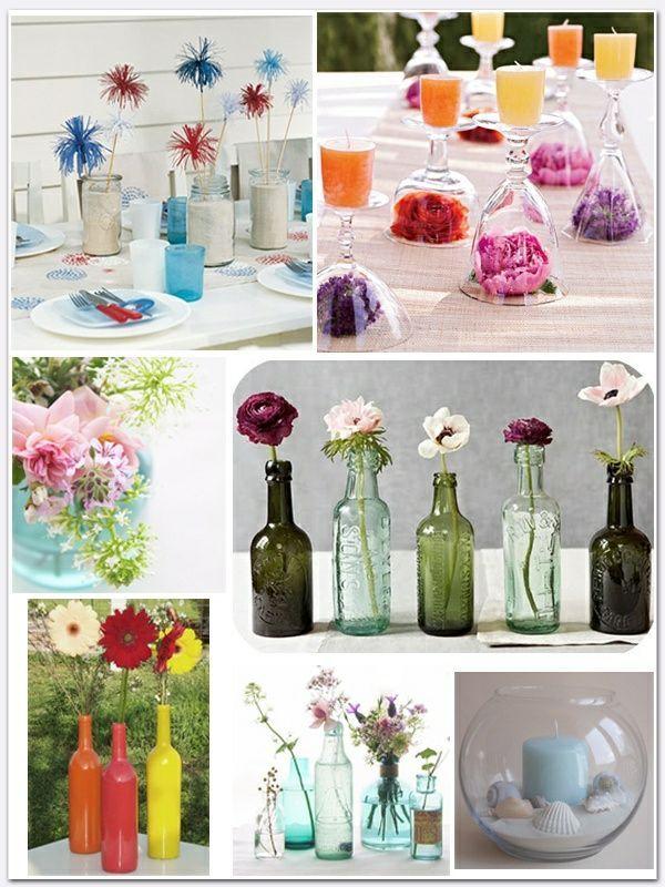 Weinflaschen Vasen Tisch Blumengestecke Ideen  Party